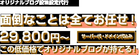 29,800円(サーバー代・ドメイン代込み)〜