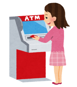 銀行のATMで電話占い料金を支払う