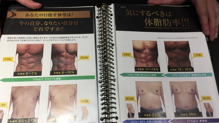 男の体脂肪と見た目のデータ