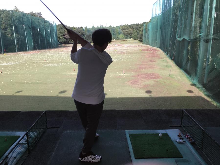 タロウ初ゴルフ 打ち終わり