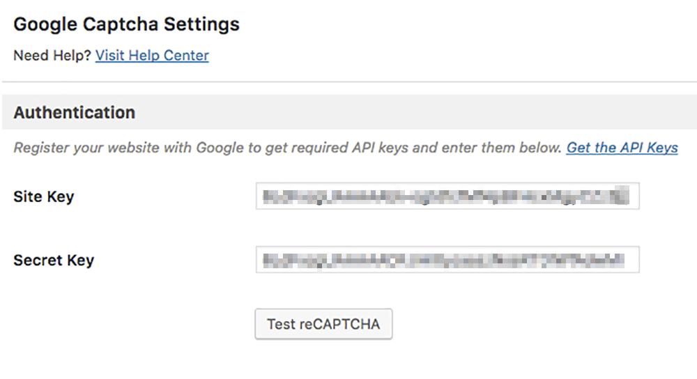 「Test reCAPTCHA」をクリック