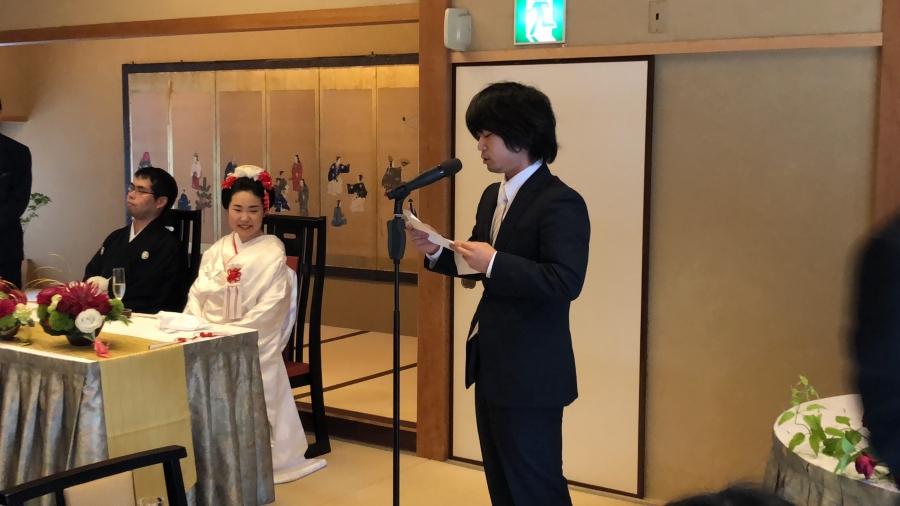 出会い系で出会った夫婦の結婚式でスピーチ